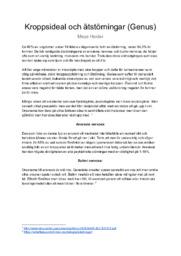 Kroppsideal och ätstörningar (Genus) | Psykologi