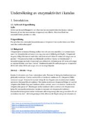 Undersökning av enzymaktivitet i katalas | Kemi 2