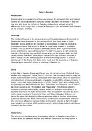 Comparison | Italy vs Sweden | Engelska essay