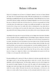 Provuppgift | Balans i tillvaron | A i betyg