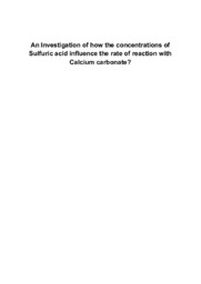An Investigation of how the concentrations of Sulfuric acid influence….