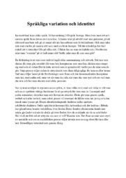 Språkliga variation och identitet | C i betyg