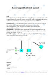 Labbrapport ballistisk pendel | Fysik