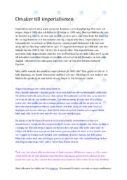 Orsaker till imperialismen | Anteckningar Uppgift