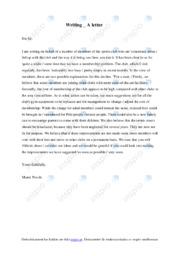 Letter on behalf of sports club | Engelsk uppgiftt | A I betyg